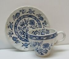 Blue Onion Teacup and Saucer Old Vienna Ironstone Wood and Sons Burslem England