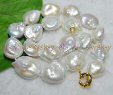 """Huge 18""""18-22mm AAA Natural real south sea baroque white pearl necklaces"""