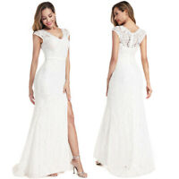 Ever-Pretty US A-Line Side Slit Formal Dress Long V-neck Lace Evening Ball Gown