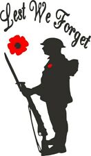 Lest we forget Wine Bottle Decal / Sticker (bottle not included) 10cm x 17cm