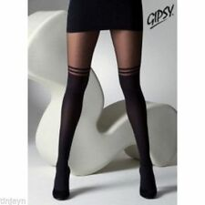 Plus Size XL Black Mock Over Knee Double Stripe Suspender Tights (gipsy)