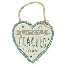 Best Teacher Hanging Heart Plaque - Token Teacher Gift - Hanging Wooden Heart
