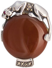 RED AGATE PANTHER RING 925 STERLING SILVER HALLMARKED NEW FROM ARI D NORMAN