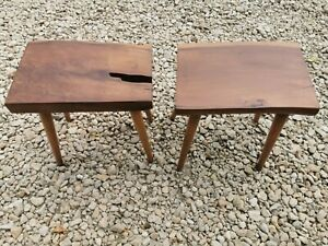 GORGEOUS PAIR OF SOLID ELM AND OAK RUSTIC ERCOL SADDLE STOOLS.