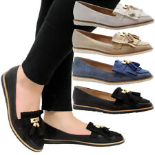 Ladies Womens Casual Fringe Tassels Loafers School Office Flats Pumps Shoes Size