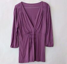 Soft Surroundings Womens XL Tunic Top Purple Wrap Style Blouse 3/4 Sleeves