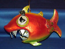 LARGE RESIN PIRANHA FISH CHRISTMAS ORNAMENT ORANGE,GREEN GLITTER MUST SEE