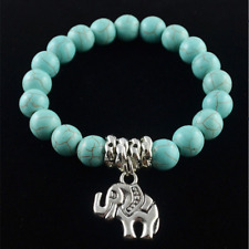 Blue Turquoise Stone Bead Bracelet with Tibet Silver Elephant– Perfect gift !!