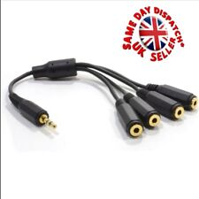 "3.5mm (1/8"") TRS Male Plug to 4 x Female Stereo Audio 4 way Splitter"