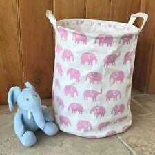 Gisela Graham Pink Elephant Round Fabric Storage Tub
