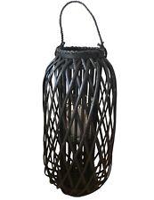 XXL Windlicht Laterne Holz Bambus Rattan mit Glaseinsatz, 66cm schwarz