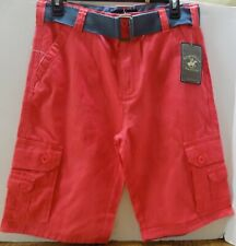 Nwt Beverly Hills Polo Club Boys' Belted Shorts Size 18 Color Coral