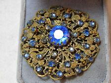 Vintage Czech Sapphire Blue Rhinestone Gold Filigree Brooch Pin 11e 23