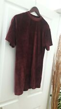 Burgundy Velour Long Line Tshirt by New Look size S NEW without Tags