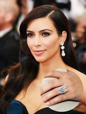 Kim Kardashian Engagement inspired 925 Sterling Silver Emerald Cut Diamond Ring