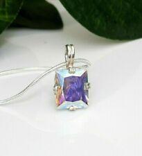 12x10 Emerald Mercury Mystic Topaz Sterling Silver Pendant  w/ Chain Necklace