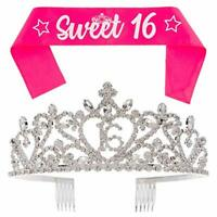 16 Tiara and Sash 16th Birthday Party Supplies Accessories, Silver Heart Set