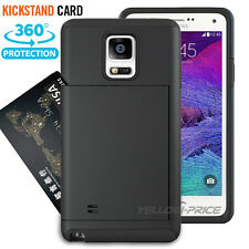 2in1 Hard Shell Samsung Galaxy Note 4 Case Kickstand Credit Card Cover+Headphone