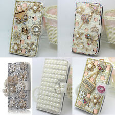 Luxury Bling Diamond Jewelled Crystal Leather Flip Wallet Card Case Stand Cover