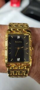 Bulova Diamond Dress Watch Gold Tone Black dial Mens Vintage