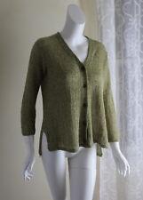 OSKA -Sz 1 S/M Unusual Linen Open-Weave Natural Green Cardigan Sweater