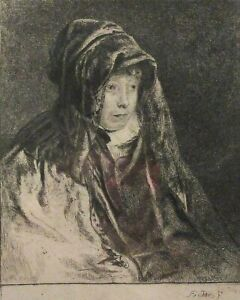 """""""The Artist's Mother"""" 1822 Andrew Geddes. Etching. Framed"""