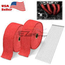 "2 Rollx2"" 50Ft Red Exhaust Thermal Wrap Manifold Header Isolation Heat Tape"