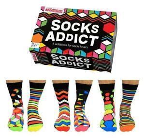 UNITED ODDSOCKS SOCKS ADDICT SIX DAZZLING MENS ODD SOCKS UK 6 -11 XMAS GIFT IDEA