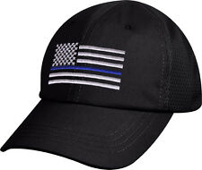 Black Subdued Thin Blue Line Flag Police Low Profile Mesh Back Baseball Cap