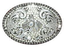 ~RHINESTONE COWGIRL~ .·:*¨Sparkle!¨*:·. Crystal Western Belt Buckle HORSE 37536
