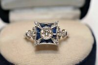 Victorian Edwardian Engagement Antique Ring 14K White Gold Over 2.13 Ct Diamond