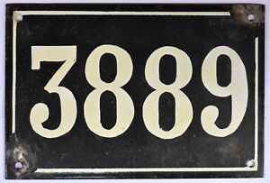 Large old black French house number 3889 door gate wall plate enamel metal sign