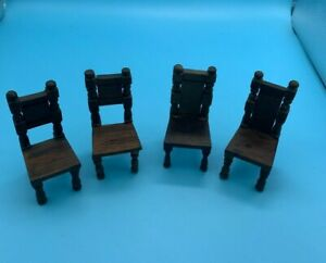 DOLLS' HOUSE MINIATURES - FOUR VINTAGE ELGIN DINING CHAIRS