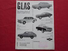 brochure prospectus publicitaire voitures GLAS 2600 V8 1300 GT  Marketing sales