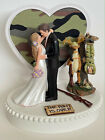 Wedding Cake Topper Dangling Hunter Themed Cute Long-Haired Bride Camo Hunting