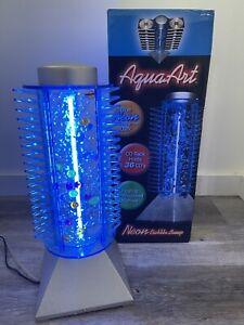 Vintage Aqua Art CD Rack Tower Neon Light Bubbling Colored Art Decor Excellent!