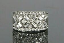 $4,200 BH EFFY 14K White Gold 0.50ct Round Baguette Diamond Cocktail Ring Band