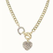 New Fashion Women Gold Plated Crystal Pendant Heart Chain Necklace Jewelry Gift