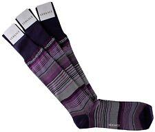 NWT VERSACE SOCKS 3 PAIRS LOT cotton striped purple Scottish thread Italy 12,5