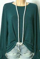 ESPRIT Pullover Gr. XL petrol-grün Langarm Feinstrick Damen Pullover