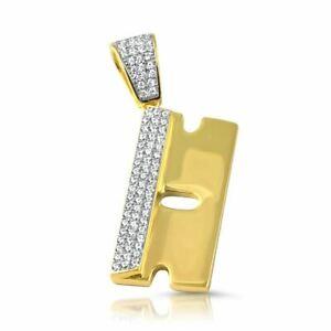 Gold 925 Silver Razor Blade CZ Pendant