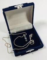 Vintage Necklace Sterling Silver Necklace & Blue Crystal Pendant Collar Length