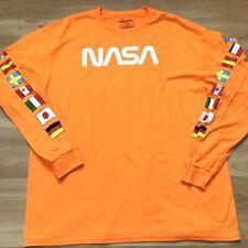 NASA Orange Flag Long sleeve T-Shirt Space  Vintage Logo Graphic Men Size XXL