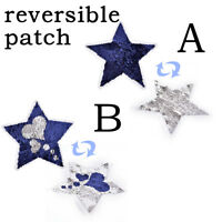 Reversible change love Sequin Five-pointed star shape Sew On Patch AppliquesFF