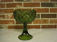 GREEN GLASS DIAMOND DESIGN INVERTED RUFFLE TOP CANDY DISH / COMPOTE