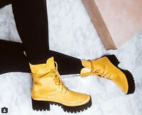 Cape Robbin Dashing Yellow Lug Sole Chunky Platform Ankle Combat Boot
