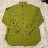 Tommy Bahama Mens Size Medium Green Long Sleeve Button Down Shirt 100% Silk EUC