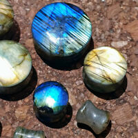 2Pcs Labradorite Stone Ear Plugs Flesh Tunnel Expander Gauge Piercing Stretchers