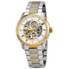 Bulova Sutton Automatic Silver Skeleton Dial Two-tone Men's Watch 98A214