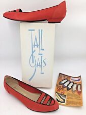 Vintage 1970s? Tall Gals Shoecraft Red Nubuck Leather Flats size 12M NIB USA O4